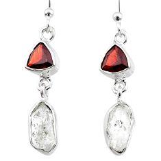10.33cts natural white herkimer diamond garnet 925 silver dangle earrings r65678