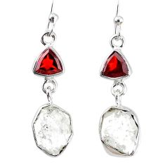 11.07cts natural white herkimer diamond garnet 925 silver dangle earrings r69554