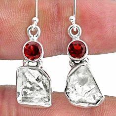13.09cts natural white herkimer diamond garnet 925 silver earrings r61466