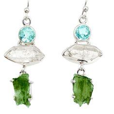 16.87cts natural white herkimer diamond moldavite 925 silver earrings r27361