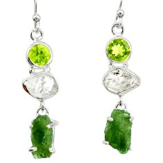 13.87cts natural white herkimer diamond moldavite 925 silver earrings r27363