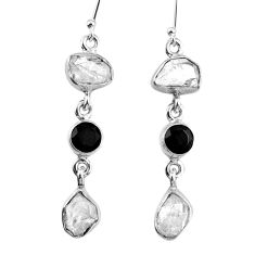 15.44cts natural white herkimer diamond onyx 925 silver dangle earrings r61521