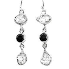 15.97cts natural white herkimer diamond onyx 925 silver dangle earrings r61522