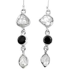 15.49cts natural white herkimer diamond onyx 925 silver dangle earrings r61523