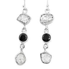 15.97cts natural white herkimer diamond onyx 925 silver dangle earrings r61525