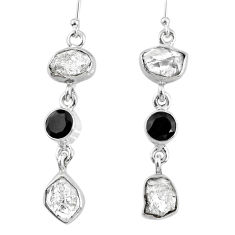 15.97cts natural white herkimer diamond onyx 925 silver dangle earrings r61527