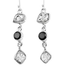 15.97cts natural white herkimer diamond onyx 925 silver dangle earrings r61529