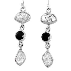 16.92cts natural white herkimer diamond onyx 925 silver dangle earrings r61530