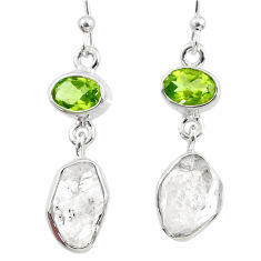 12.10cts natural white herkimer diamond peridot 925 silver earrings r65665