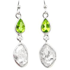 12.51cts natural white herkimer diamond peridot 925 silver earrings r65666