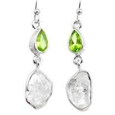 13.20cts natural white herkimer diamond peridot 925 silver earrings r65667