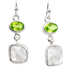 12.95cts natural white herkimer diamond peridot 925 silver earrings r65669