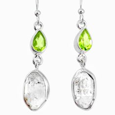 13.09cts natural white herkimer diamond peridot 925 silver earrings r69521