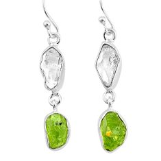 10.79cts natural white herkimer diamond peridot raw 925 silver earrings t4545