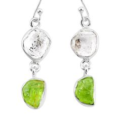11.25cts natural white herkimer diamond peridot raw silver earrings r93679