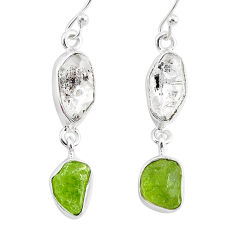 11.57cts natural white herkimer diamond peridot raw silver earrings r93680
