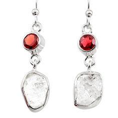11.18cts natural white herkimer diamond red garnet 925 silver earrings r65671