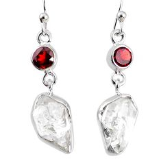 11.07cts natural white herkimer diamond red garnet 925 silver earrings r69546