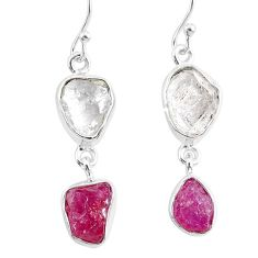 11.55cts natural white herkimer diamond ruby raw 925 silver earrings r93763