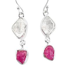 11.71cts natural white herkimer diamond ruby raw 925 silver earrings r93765