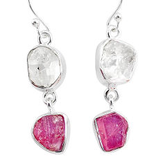 13.06cts natural white herkimer diamond ruby raw 925 silver earrings r93766