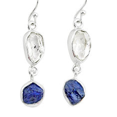 12.12cts natural white herkimer diamond sapphire raw silver earrings r93771