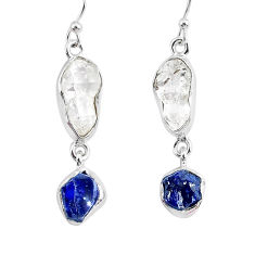 13.04cts natural white herkimer diamond sapphire raw silver earrings r93773