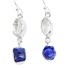 11.57cts natural white herkimer diamond sapphire raw silver earrings r93774