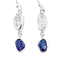 12.14cts natural white herkimer diamond sapphire raw silver earrings r93776