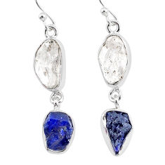 13.87cts natural white herkimer diamond sapphire raw silver earrings r93777