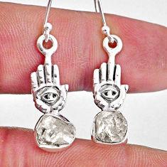 8.07cts natural white herkimer diamond silver hand of god hamsa earrings r61566