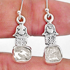 5.83cts natural white herkimer diamond silver hand of god hamsa earrings r61576