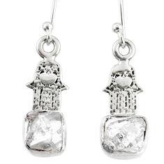6.26cts natural white herkimer diamond silver hand of god hamsa earrings r69504