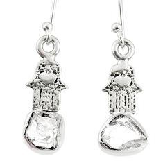 6.19cts natural white herkimer diamond silver hand of god hamsa earrings r69512