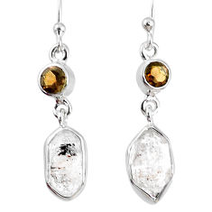 9.86cts natural white herkimer diamond smoky topaz 925 silver earrings r69541