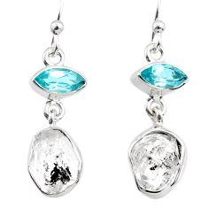 10.72cts natural white herkimer diamond topaz 925 silver dangle earrings r65681