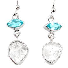 11.71cts natural white herkimer diamond topaz 925 silver dangle earrings r65682