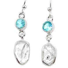 10.53cts natural white herkimer diamond topaz 925 silver dangle earrings r65685