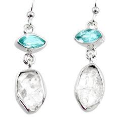 10.99cts natural white herkimer diamond topaz 925 silver dangle earrings r65686