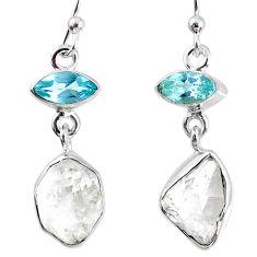10.32cts natural white herkimer diamond topaz 925 silver dangle earrings r69556