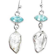 11.07cts natural white herkimer diamond topaz 925 silver dangle earrings r69557