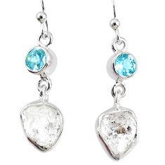 9.37cts natural white herkimer diamond topaz 925 silver dangle earrings r69560