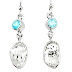 12.60cts natural white herkimer diamond topaz 925 silver dangle earrings r69641