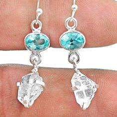 9.94cts natural white herkimer diamond topaz 925 silver dangle earrings t49808
