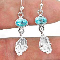 10.99cts natural white herkimer diamond topaz 925 silver dangle earrings t49830