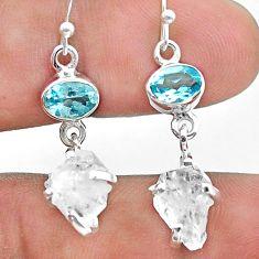 10.88cts natural white herkimer diamond topaz 925 silver dangle earrings t49833