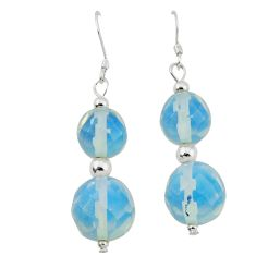 Natural white opalite 925 sterling silver dangle earrings jewelry c21007