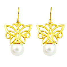 11.02cts natural white pearl 925 silver 14k gold butterfly earrings c24041