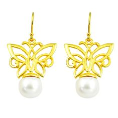 11.02cts natural white pearl 925 silver 14k gold butterfly earrings c24084