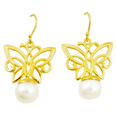 Natural white pearl 925 silver 14k gold dangle butterfly earrings c23985
